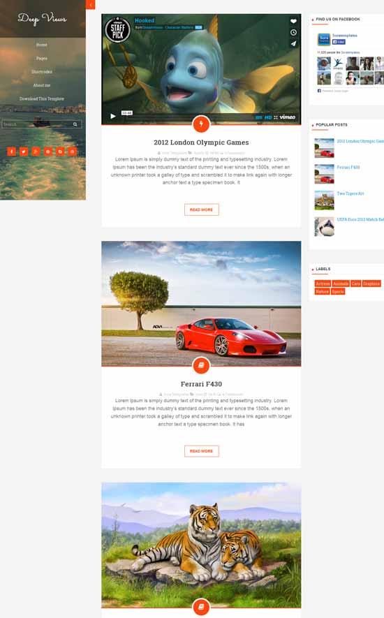 Mẫu Theme Blogger Đẹp Miễn Phí 25